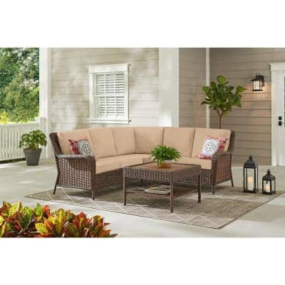 Cambridge 4-Piece Brown Wicker Outdoor Patio Sectional Sofa and Table with Sunbrella Beige Tan Cushions