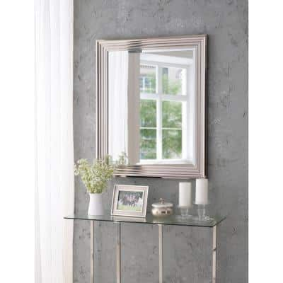 Medium Square Polished Aluminum Finish Beveled Glass Contemporary Mirror (36 in. H x 30 in. W)