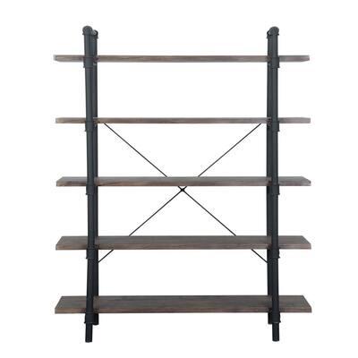 Kodiak 70 in. Dark Brown Wood 5-Shelf Etagere Bookcase