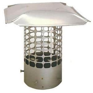 Slip-In 5-1/2 in. Round Fixed Stainless Steel Chimney Cap