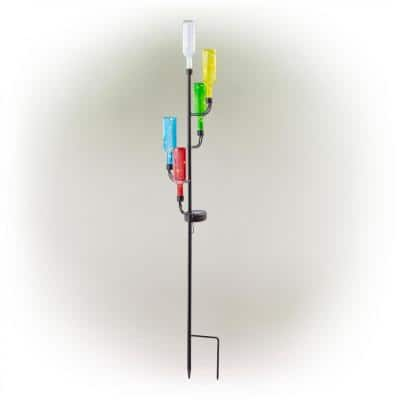 37 in. Tall Outdoor Solar Glass Bottle Tree Stake LED Solar Stake