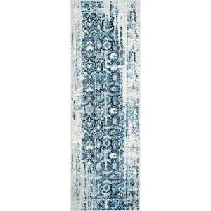Ernestina Distressed Flourish Blue 3 ft. x 8 ft. Runner