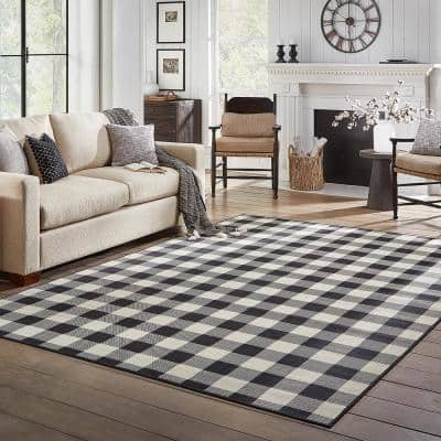 Clio Ivory/Black 5 ft. x 8 ft. Buffalo Check Indoor/Outdoor Area Rug