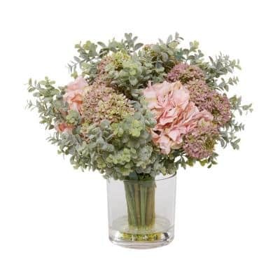 23 in. L x 21 in. H Mauve Hydrangea and Eucalyptus Arrangement in Glass Vase with Acrylic Water