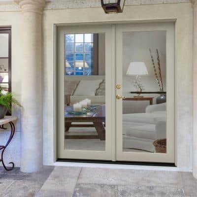 72 in. x 80 in. W-2500 Desert Sand Clad Wood Right-Hand Full Lite French Patio Door w/Unfinished Interior