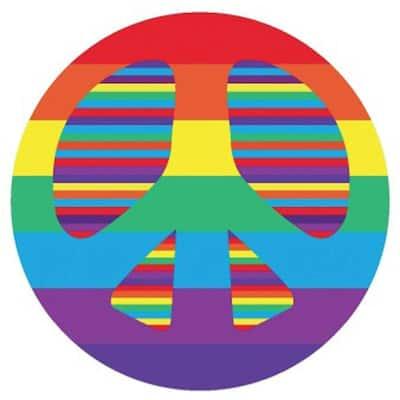 Fun Time Shape Peace Multi Colored 3 ft. Round Area Rug