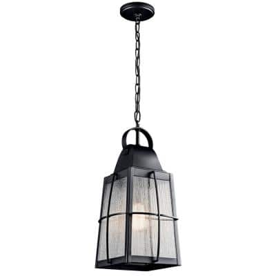 Tolerand 1-Light Textured Black Outdoor Pendant Light with Clear Seedy Glass Shade