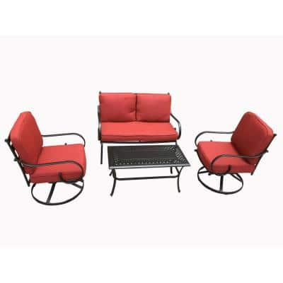 Alicia 4-Piece Steel Outdoor Dining Set with Swivel Chairs and Red Cushions