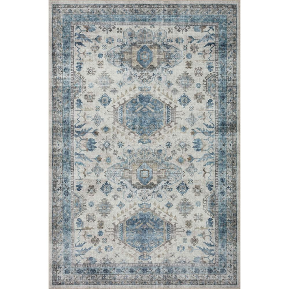 Loloi Ii Heidi Ivory Ocean 7 Ft 6 In X 9 Ft 6 In Southwestern Polyester Pile Area Rug Heidhei 04ivoc7696 The Home Depot