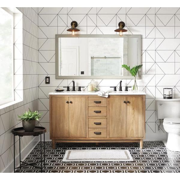 Home Decorators Collection Brisbane 61 In W X 22 In D Double Bath Vanity In Weathered Grey Oak With Natural Marble Vanity Top In White Bbgov6122 The Home Depot
