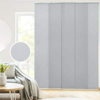Skyrise Cut-to-Size Grey Light Filtering Adjustable Sliding Panel Track Blind w/ 23 in. Slats Up to 86 in. W x 96 in. L