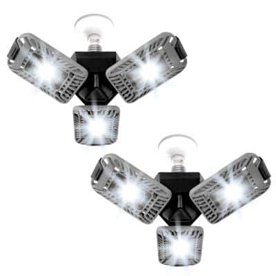 TriBurst 10.5 in. 144 High Intensity LED 4000 Lumens Flush Mount Ceiling Light with 3 Adjustable Heads (2-Pack)