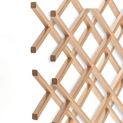 14-Bottle Trimmable Wine Rack Lattice Panel Inserts in Unfinished Solid North American Alder