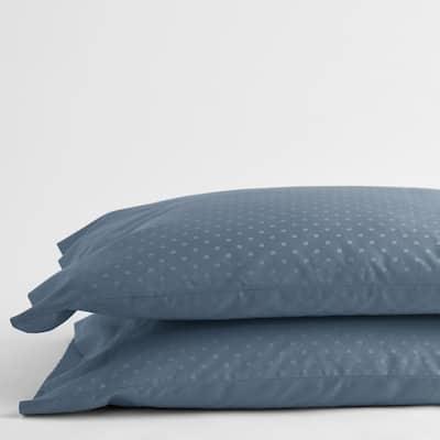 Legends Luxury Dot Mirage Blue 500-Thread Count Cotton Sateen Standard Pillowcase (Set of 2)