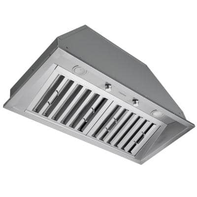 Pro 34 in. 600 CFM Ducted Insert Range Hood with LED Lights in Stainless Steel