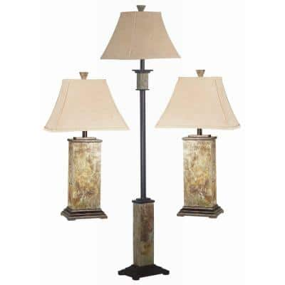 Bennington 29 in. Natural Slate 2 Table and 1 Floor Lamp Set