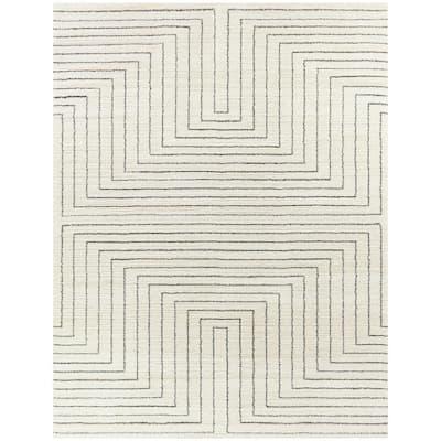 Carmody White 5 ft. x 7 ft. Modern Stripe Area Rug