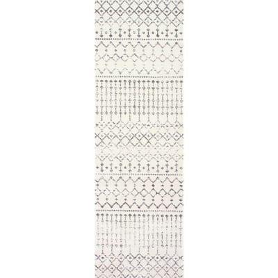 Blythe Modern Moroccan Trellis Gray 2 ft. x 6 ft. Runner