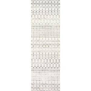 Blythe Modern Moroccan Trellis Gray 3 ft. x 16 ft. Runner