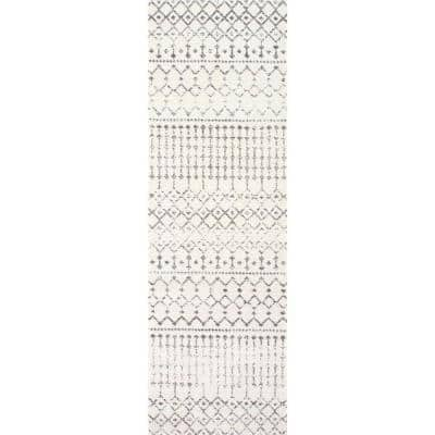 Blythe Modern Moroccan Trellis Gray 3 ft. x 20 ft. Runner