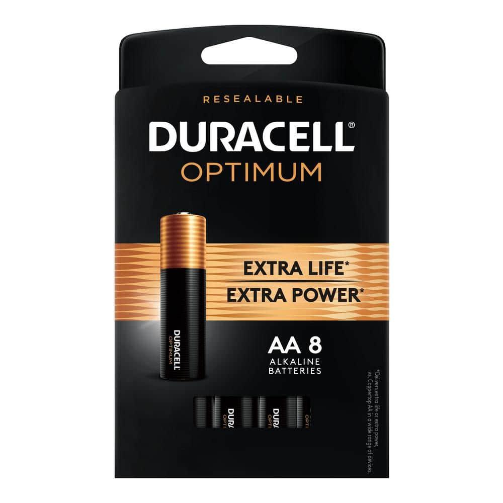 Duracell Optimum Aa Alkaline Battery 8 Pack 004133303297 The Home Depot