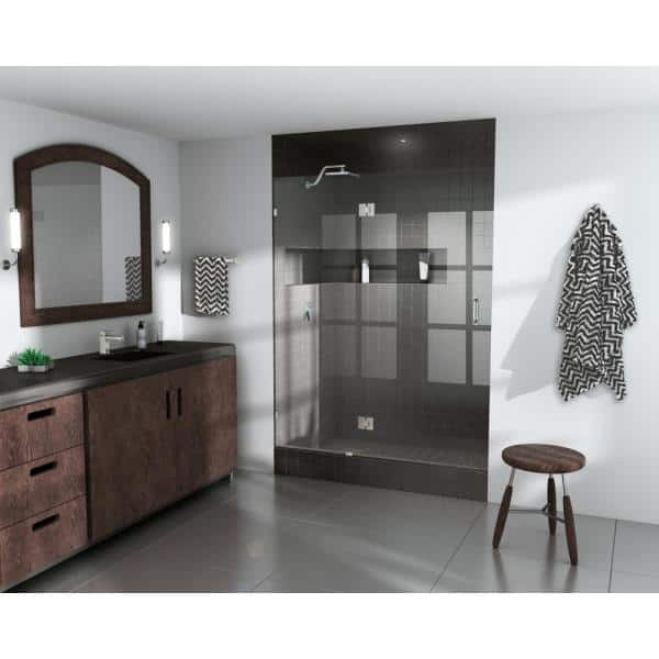 Glass Warehouse 40 In X 78 In Frameless Glass Pivot Hinged Shower Door In Brushed Nickel Gw Gh 40 Bn The Home Depot