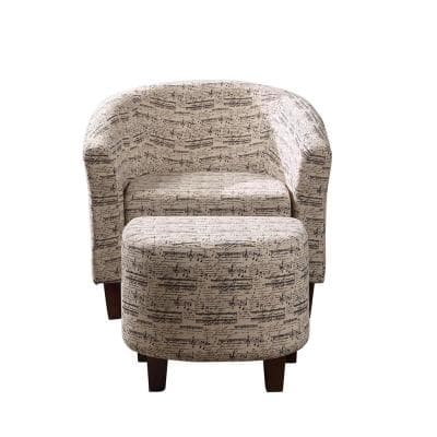 Symphony Multi-Colored Patterend Tub Chair with Ottoman