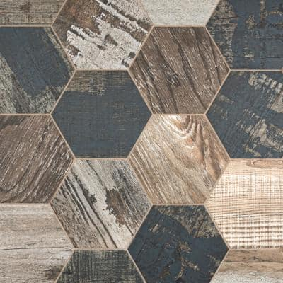 Take Home Tile Sample - Gaugin Hex Catan Shadow 9-3/4 in. x 8-1/2 in. Porcelain Floor and Wall