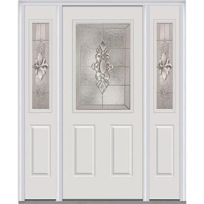 68.5 in. x 81.75 in. Heirlooms Left-Hand Inswing 1/2-Lite Decorative Painted Steel Prehung Front Door with Sidelites