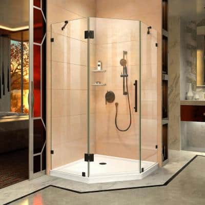 Prism Lux 34-5/16 in. x 34-5/16 in. x 72 in. Frameless Hinged Neo-Angle Shower Enclosure in Satin Black