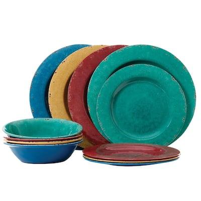 Mauna 12-Piece Casual Assorted colors Melamine Outdoor Dinnerware Set (Service for 4)