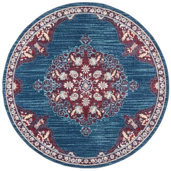 Safavieh Brentwood Navy Burgundy 5 Ft X 5 Ft Round Area Rug Bnt867p 5r The Home Depot