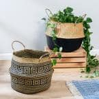 Natural and Black Folding Seagrass Belly Baskets (Set of 2)