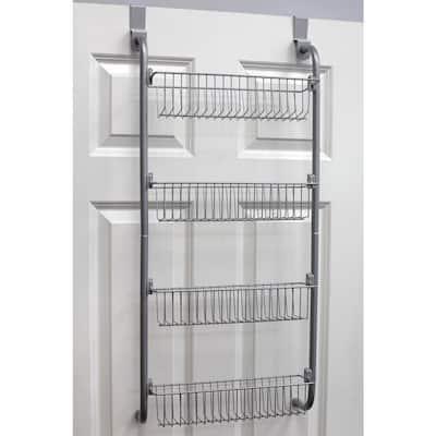 4-Tier Gray Door Mount Pantry Organizer with Low Profile