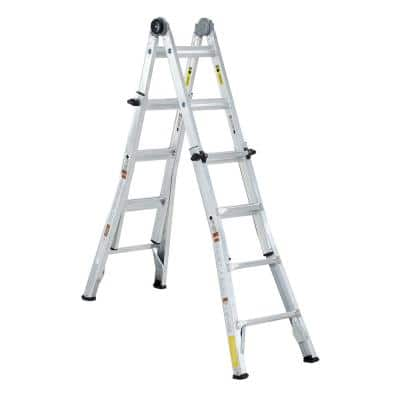 18 ft. Reach Telescopic Aluminum Multi-Position Extension Ladder with 300 lb. Load Capacity Type IA Duty Rating