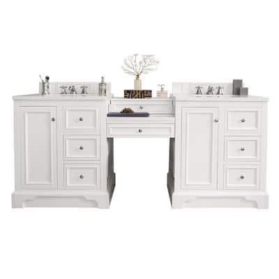 De Soto 84.5 in. W Double Vanity in Bright White with Marble Vanity Top in Carrara White with White Basin