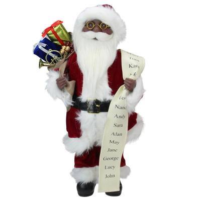 16 in. African American Santa Claus Christmas Figure with Naughty or Nice List