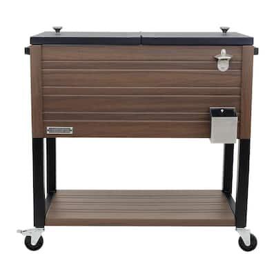 80 Qt. Portable Rolling Patio Cooler, Brown