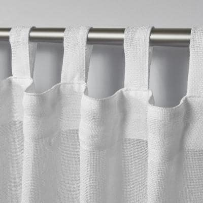 White Solid Tab Top Sheer Curtain - 54 in. W x 96 in. L (Set of 2)