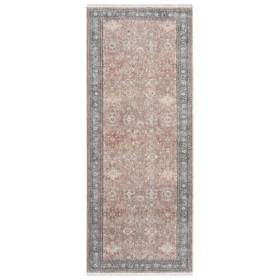 Tuncay Contemporary Transitional Salmon 2 ft. 8 in. x 8 ft. Runner Rug