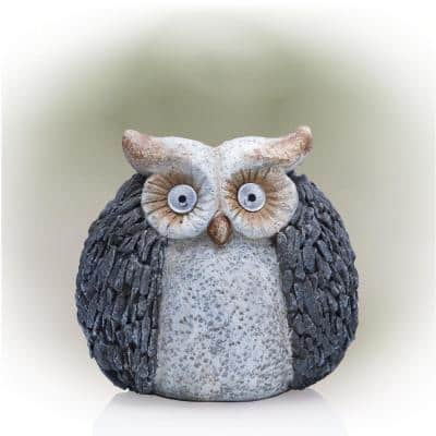 13 in. Tall Outdoor Solar Powered Owl Yard Statue with LED Lights