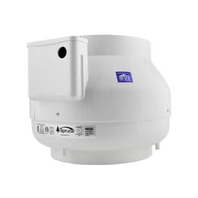 RB500 500 CFM 10 in. Inlet and Outlet Inline Ventilation Fan in White