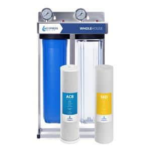 2-Stage Whole House Water Filtration System – Sediment and Carbon Filter, Pressure Gauge, Easy Release, 1 in. Connection