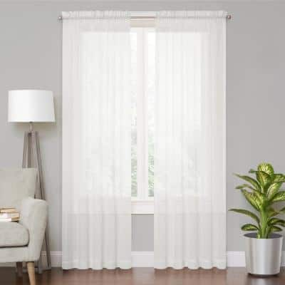 Voile White Sheer Window Curtain - 59 in. W x 84 in. L