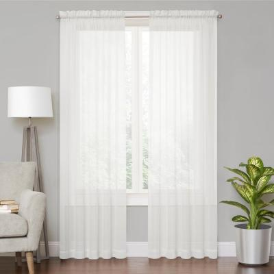 White Solid Rod Pocket Sheer Curtain - 59 in. W x 54 in. L