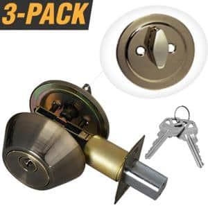 Antique Brass Entry Door Lock Single Cylinder Deadbolt with 6 KW1 Keys (3-Pack, Keyed Alike)