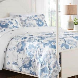 Loriana 3-Piece Blue Floral King Comforter Set