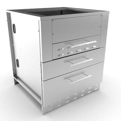 Designer Series 304 Stainless-Steel 30 in. x 34.5 in. x 28.25 in. Kamado Hybrid Grill Cabinet