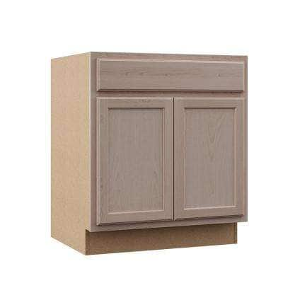 Hampton Assembled 30x34.5x24 in. Sink Base Cabinet in Unfinished Beech