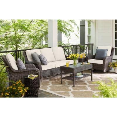 Cambridge Gray Wicker Outdoor Patio Sofa with CushionGuard Almond Tan Cushions